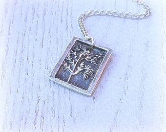 Fine Silver Tree of Life Pendant, Rectangle Tree Pendant,Antique Tree in Frame,Gift for Mom, Gift for Daughter, Unisex Gift, Gift Under 100