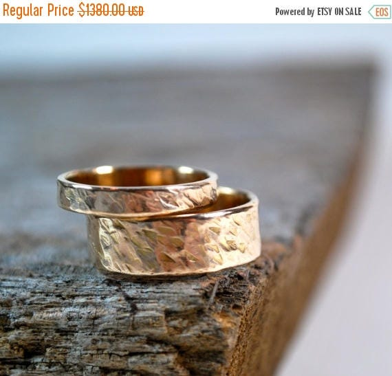 ON SALE Wedding Ring Set, Couples Wedding Rings, Rose Gold & Yellow Gold Rings, His and Her Wedding Rings, Matching Wedding Ring Set