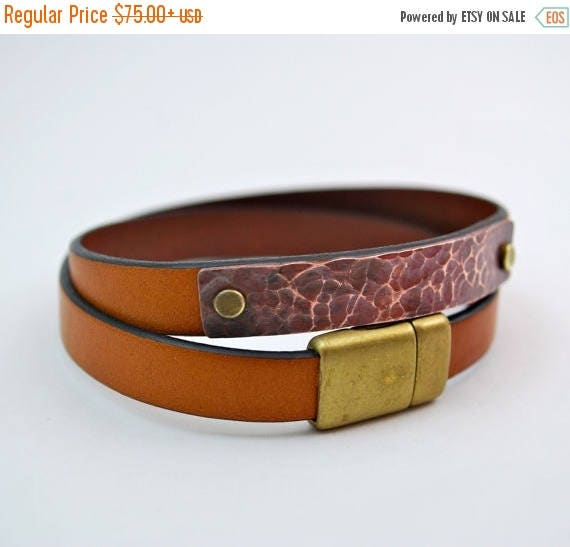 ON SALE Wrap Bracelet - Personalized in Brown Leather and Copper - Unisex Wrap Bracelet