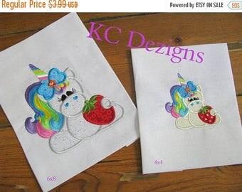 ON SALE Cool Treat Unicorn 02 Machine Applique Embroidery Design - 4x4, 5x7 & 6x8