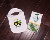 Monogrammed Tractor Burp Cloth, Personalized Tractor Bib, Tractor Boy Baby Shower Gift, Girl Baby Shower Gift Farm. Farm Baby Shower Gift