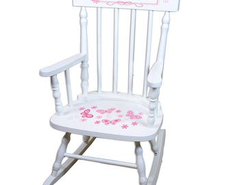 Personalized White Childrens Rocking Chair with Pink Butterflies Design-spin-whi-300a