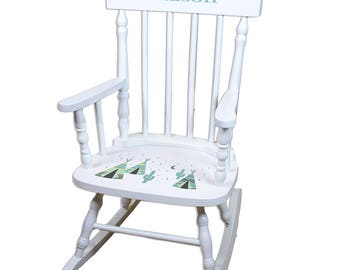 Personalized White Childrens Rocking Chair with Aqua TeePee Design-spin-whi-242ab