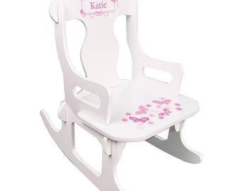 Personalized White Puzzle Rocking Chair with Pink Butterflies Design-puzz-whi-300a