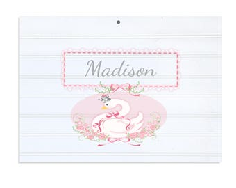 Personalized White Vintage Childrens Room Sign Swan-WRS-328