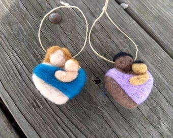 Custom Mother and Child Baby Wearing Heart - Magnet - Pin - Ornament