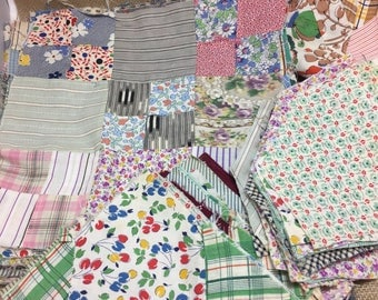 Sale Huge Lot of 1930's Feed Sack Quilt Squares and Pieces