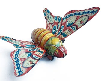 vintage tin, friction toy, butterfly toy, litho Japan, articulated toy, vintage animal