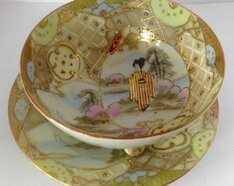 antique Japanes hand painted porcelain noodle rice bowl saucer satsuma style footed geisha gold detailing