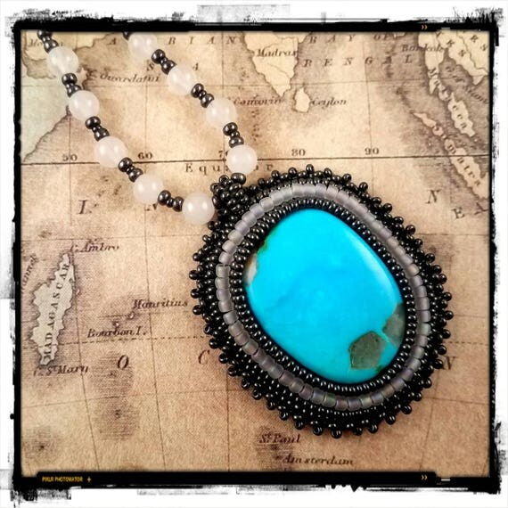 Natural Nacozari Turquoise Necklace, with Beaded White Jade Necklace