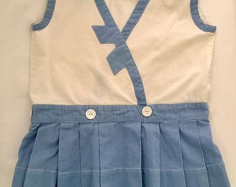 Vintage 1920s 30s Toddler Girls' Sleeveless Blue & White Cotton Dress 3T 4T