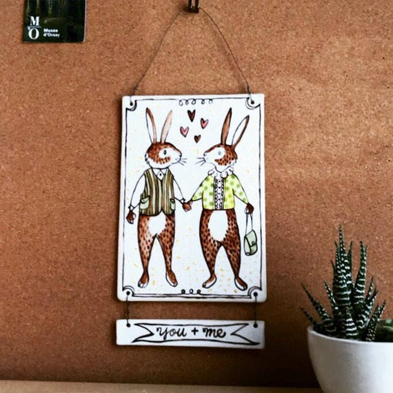 you + me - ceramic art - rabbit art - wall hanging