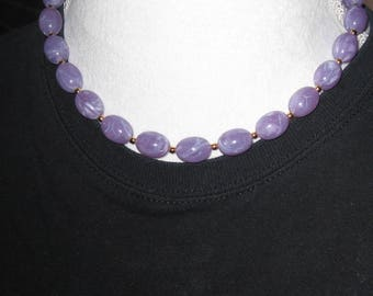 JOAN RIVERS Beaded Necklace -  Lavendar Jade-like Beads