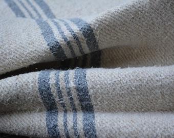 Antique European Grain Sack with slate blue stripes, Homespun Linen Grain Sack for Vintage Home Decor, Rustic Linen Fabric, Vintage Supplies