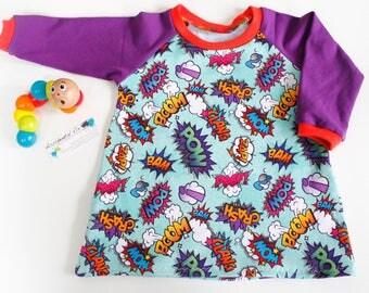Baby girl superhero dress, toddler raglan dress, A-line purple t-shirt dress, 3-6m, new baby gift