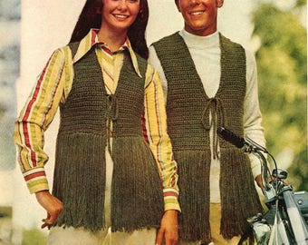 PDF 1970s Crochet Fringed Vest, Hippie, Boho, Retro, Costume, Sonny and Cher Styled