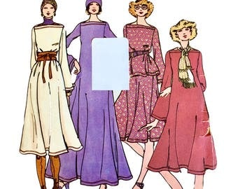1976 Vintage Rare Butterick 4426 Betsey Johnson Pattern Misses' Maxi Dress, Top, Skirt and Hat, Belled Sleeves, Bateau Neckline Size 8