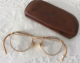 wire eyeglasses - vintage eyewear - round glasses - collectible eyewear - original eyeglass case - antique eyeglasses -  1900s