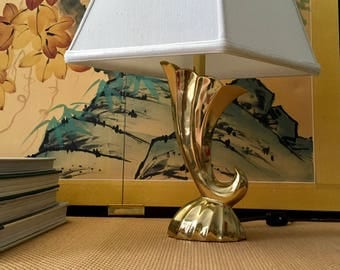 Vintage Solid Brass Cornucopia Shaped Accent Table Lamp