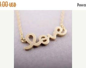 60% OFF Sale Gold Love Necklace, Love Script Necklace, Cursive Writing Love Necklace, Letter Love Necklace, Wedding, Valentine's Gift, Anniv