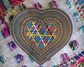 Custom SG Rainbow Flower of Life Heart Stickers