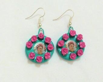 Frida Kahlo earrings-mexican folk clay earrings.