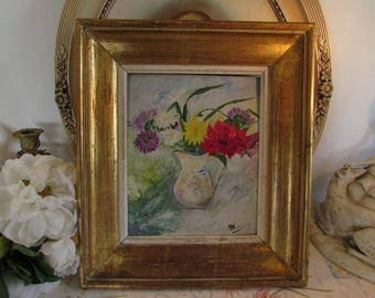 Antique French very old painting on board with old thick gold frame