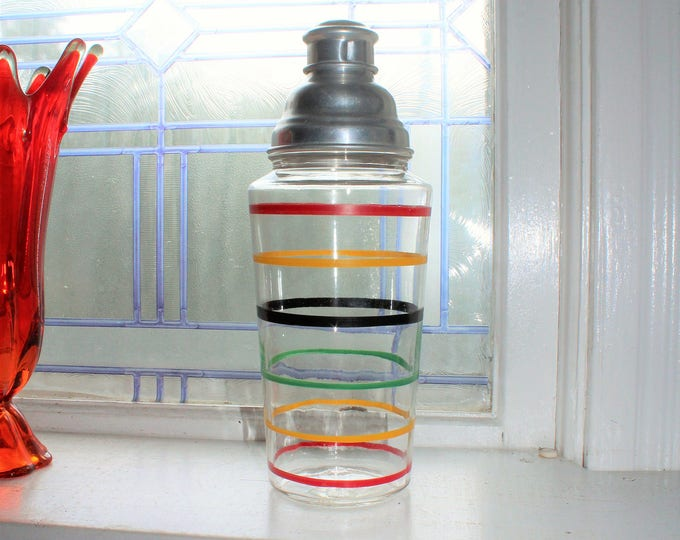 Vintage Striped Glass Cocktail Shaker Banded Rings Hocking Glass