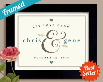 Let Love Grow Personalized Wedding Gift Engagement Gift Newlywed Gay Wedding Gift First Anniversary Gift Couples Gift Fall Wedding Gift