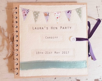 Hen book, guest book, wedding book with vintage textiles. Made in Cornwall. Bridesmaid gift. Bride gift. New baby. Hen party. Wedding.