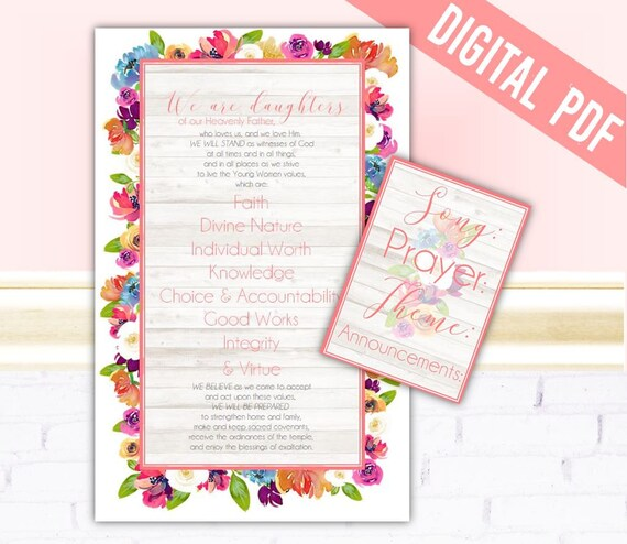Meandmyimagination lds young women theme poster and opening exercises chalkboard list pdf printable stopboris Choice Image