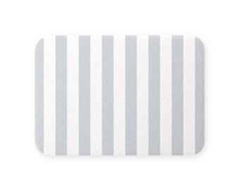 Super Plush SHOWER BATH MAT Soft Quick Dry Memory Foam Nonslip Back Big Neutral Light Gray White Beach Stripes . Small Large Machine Wash