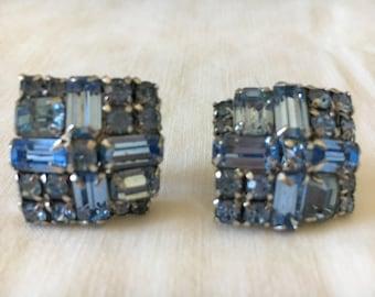 Vintage Earrings, Rhinestone Earrings, Costume Jewelry, Vintage Blue Rhinestone Clip On Earrings 1950s