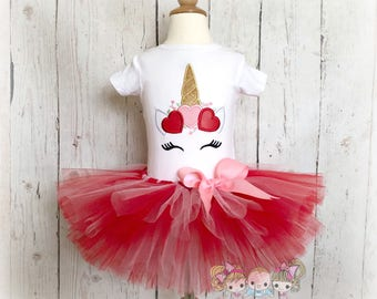Valentine's Day Unicorn outfit - Unicorn with heart crown - unicorn tutu outfit - Valentine's Day outfit - Unicorn face with hearts