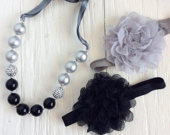 Silver Black chunky bead NECKLACE girl bubble gum necklace bubble gum chunky baby necklace big girl necklace big bead necklace