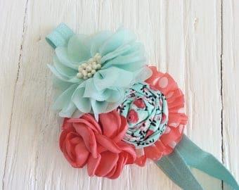 mint coral baby headband girl headband newborn headband toddler headband flower headband matilda jane m2m flower infant newborn headband