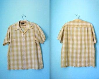 vintage Men's super soft and thin large yellow plaid JC Penny shirt /  size L