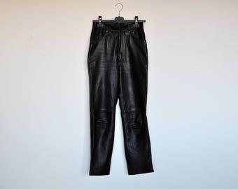 Vintage 80s Black High Waisted Skinny Leather Cigarette Pants Minimalist Trousers Biker Pants