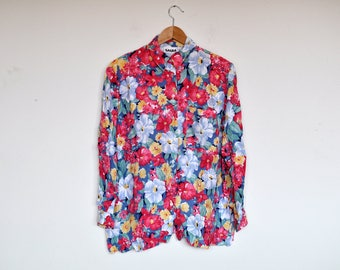 Vintage Bright Floral Long Sleeve Button Up Blouse