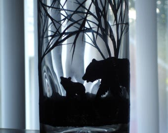 1 Hand painted black bear and cub beverage glass (1 available right away)