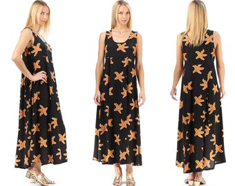Grunge Dress 90s STARFISH Print Bohemian Summer Dress Black Beige Festival Sun Dress Long Hippie Maxi Empire Waist Sleeveless Vintage Large