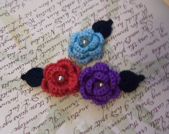 Set of Three Crochet Flowers and Leaf Appliques. Handmade Crochet Appliques.