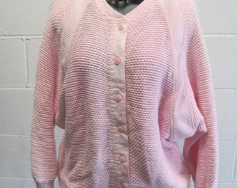 Long chunky cardigan blush pink hand knit chunky sweater