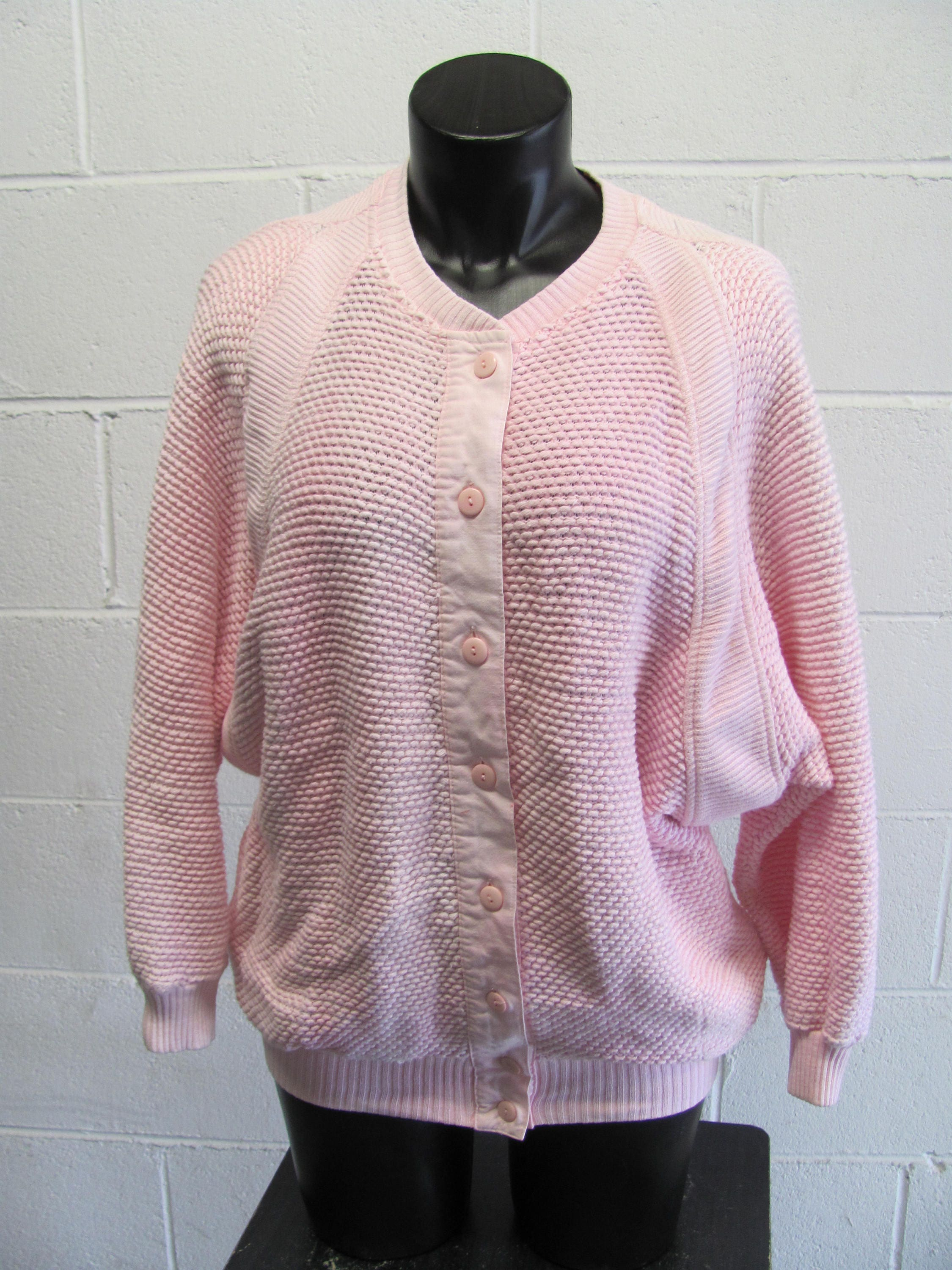 Vintage 80s Pink Chunky Cardigan Sweater Bat Wing Sleeve