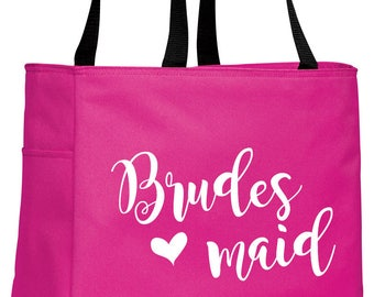 Personalized Tote Bag, Bridesmaid Tote, Monogrammed Tote, Tote with Bow, Bridal Party Gifts, Bridesmaids Gifts