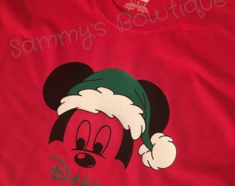 Mickey Mouse Christmas Personalized Mens T-shirt. Disney family shirts, Disney Christmas, Personalized Disney shirts.