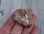 Angel Wings Heart, Gold, Tan, bronze, purple, Purple, Lampwork Focal Bead, Love, Pendant Bead, Loved one, Angel