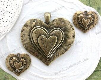 Sale Supplies Destash Large Antique Brass Heart Pendant & Antique Brass Heart Charms, Lead Free Nickle Free Heart Boho Supplies DS-876