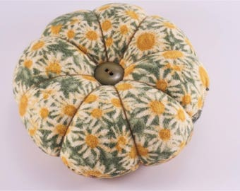Sunflower Round Pincushion with Decorative Pins, Reversible Sunflower Pincushion with vintage buttons, Classic Pincushion