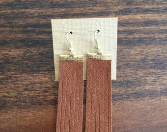 Camel suede tassel earrings